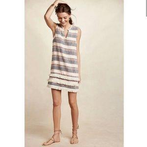 Anthropologie Fringed Stripe Linen Tunic Dress